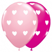 Love Balloons (Hearts Pink & Berry) - 11 Inch Balloons 6pcs